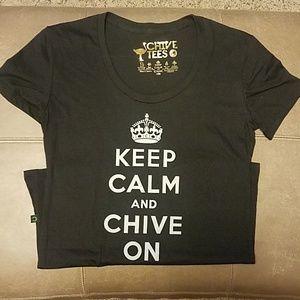 Women's black keep calm chive on tshirt
